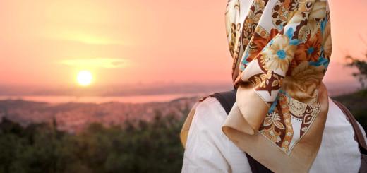 Muslim women and sunset. Muslim women fashion style.