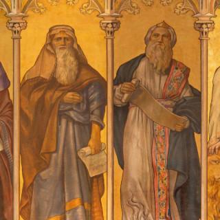 Trnava - The neo-gothic fresco of big prophets Isaiah, Jeremiah, Ezekiel, Daniel by Leopold Bruckner from end of 19. cent. in Saint Nicholas church.